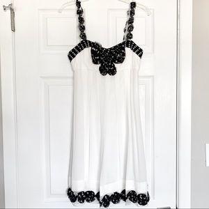 SUE WONG Silk Cocktail Dress in White & Black